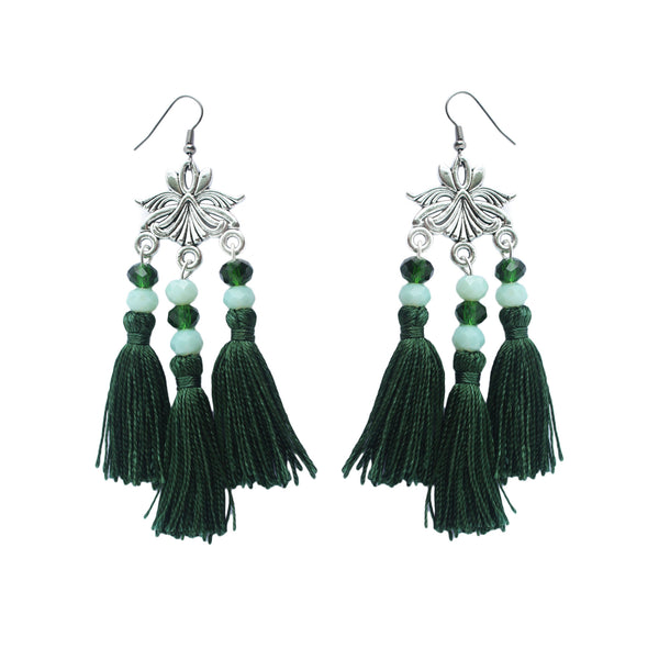 Emerald Green Tassel Earring
