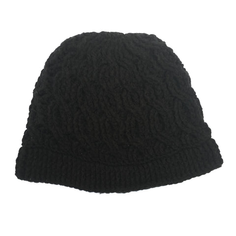 Black Cable Beanie Crochet Handmade Hat - Crochita - 1