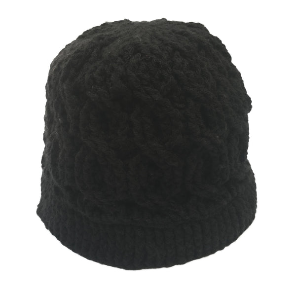 Black Cable Beanie Crochet Handmade Hat - Crochita - 2