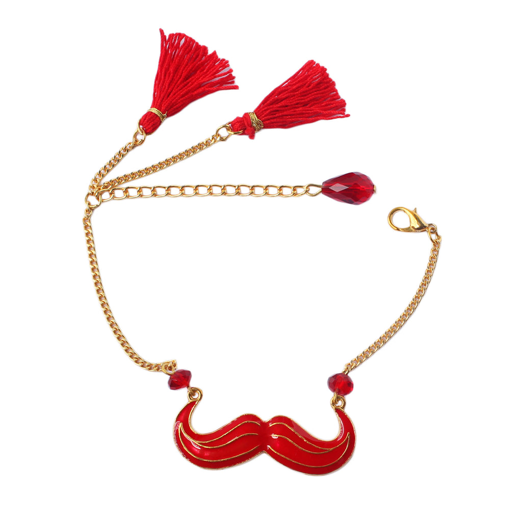 Quirky Red Mustache Tassel Bracelet
