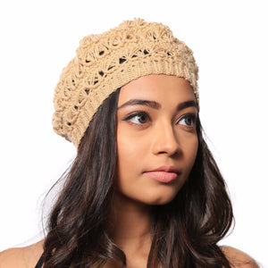 Sand Dust Crochet Handmade Woollen Beret Hat - Crochita - 6