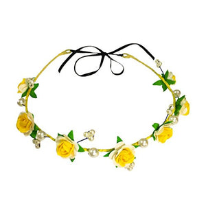 Yellow White Floral Hair Wreath