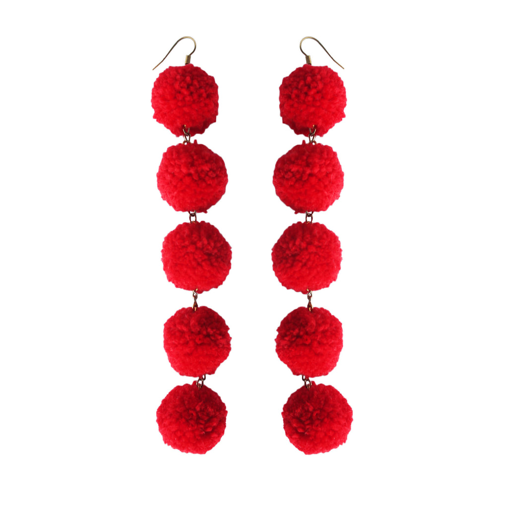 Red Hot 5 Drop Pom Pom Earrings