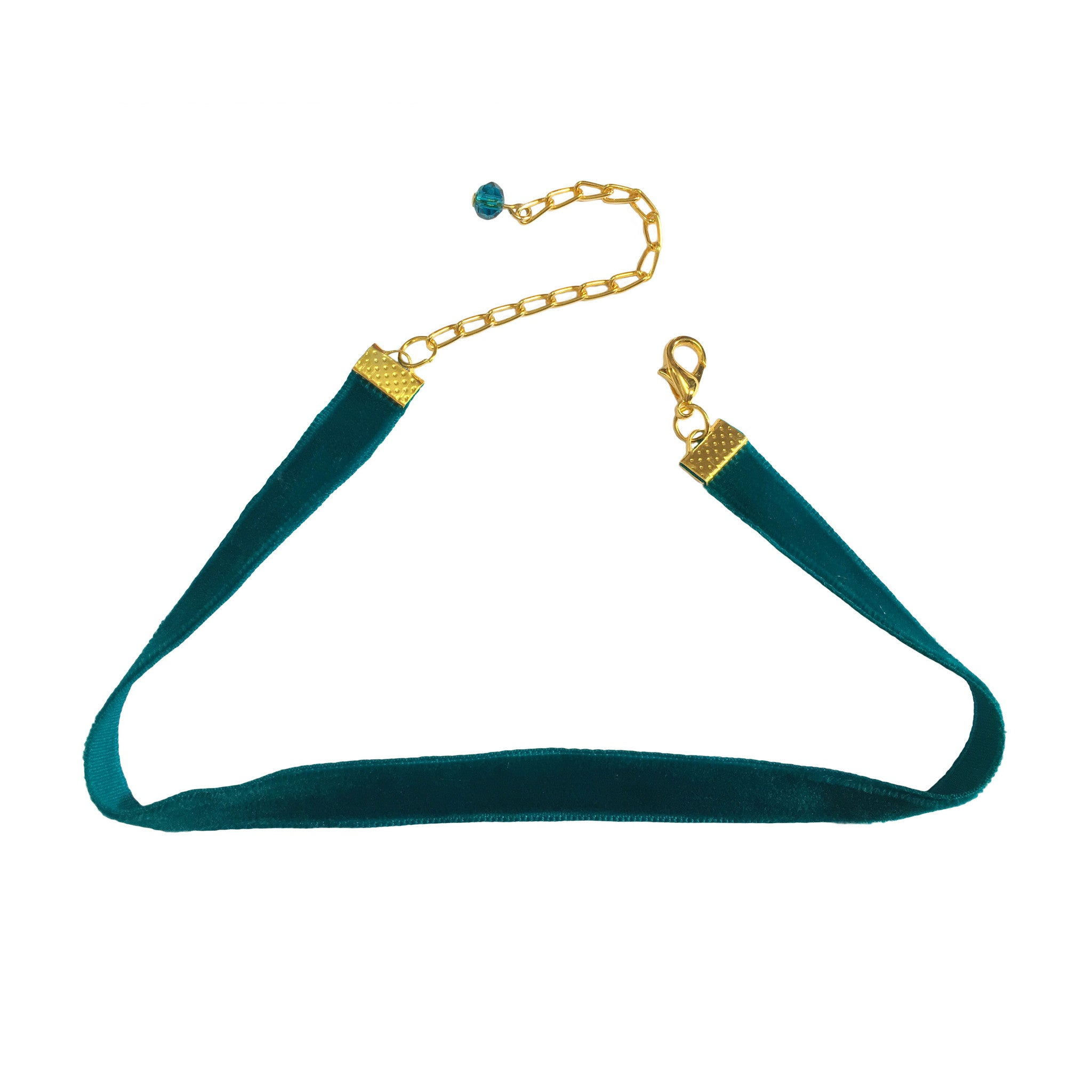 Turquoise Velvet Choker Necklace - Crochita - 1