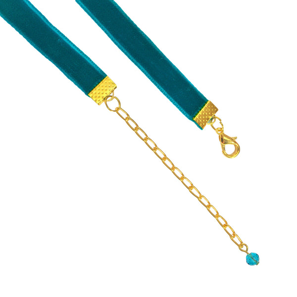 Turquoise Velvet Choker Necklace - Crochita - 2