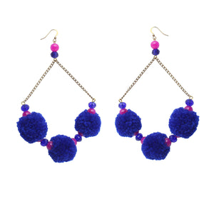Blue Orchid Pom Pom Earrings