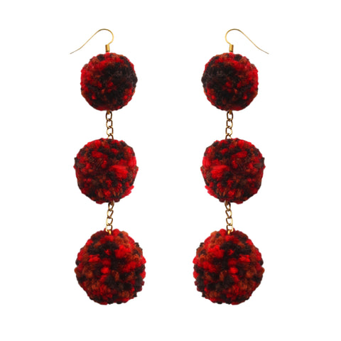 Fifty Shades of Red Pom Pom Earrings