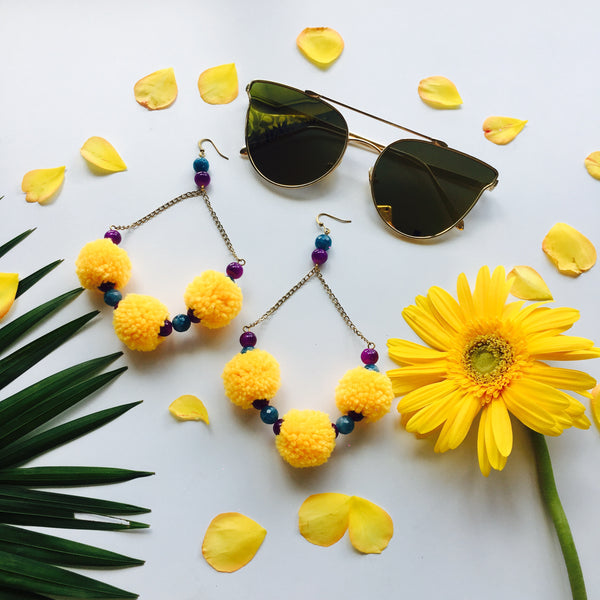 Sunflower Yellow Pom Pom Earrings