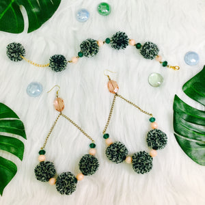Aphrodite Pom Pom Earrings and Bracelet Combo