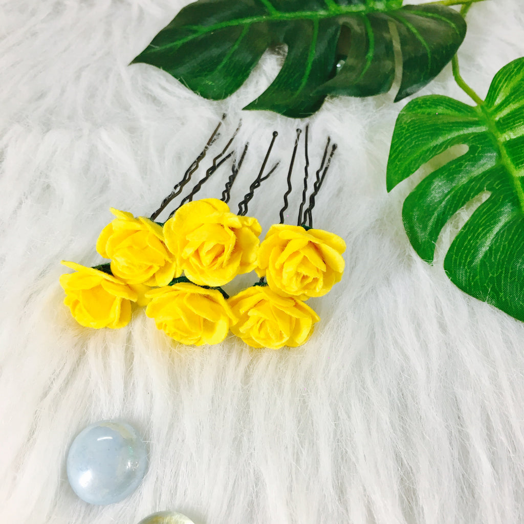 Yellow Bulbous Buttercup Bun Pins (Set of 6)