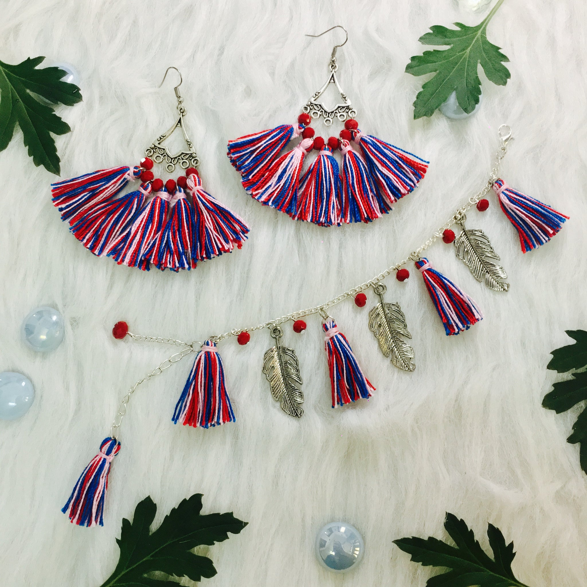 Camelia Tassel Earrings and Bracelet Combo