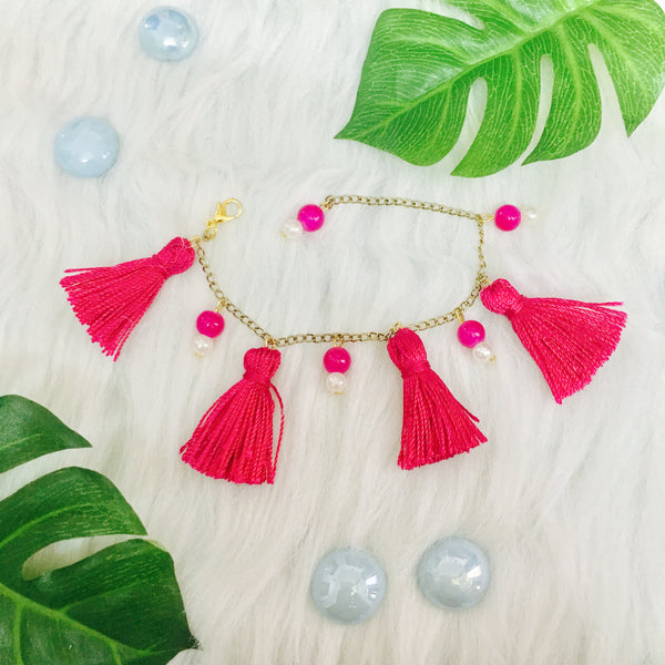 Fusia Love Tassel Earrings and Bracelet Combo
