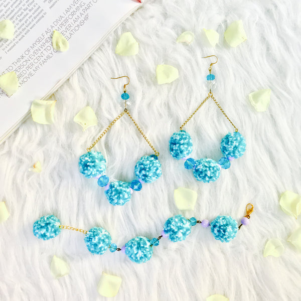 Rose in Sharon Pom Pom Earrings