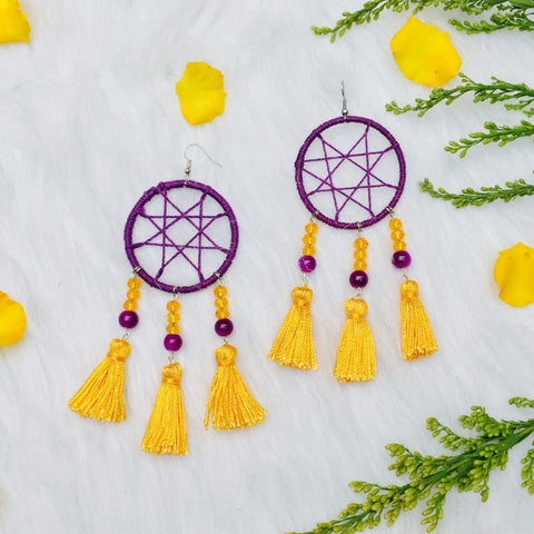 Virgo Dream Catcher Tassel Earrings