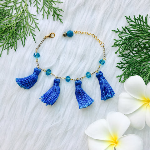 Carolina Blue Tassel Bracelet