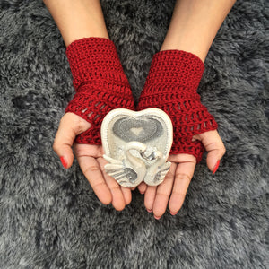 Cherry Plum All Season Handmade Crochet Fingerless Gloves - Crochita - 1