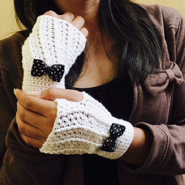 Snow White Crochet Handmade Finger-less Gloves - Crochita - 3