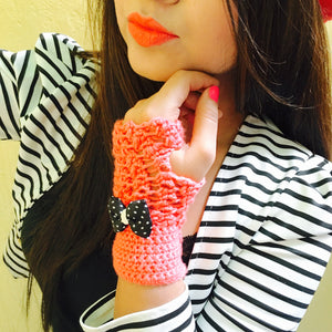 Cantaloupe Crochet Handmade Finger-less Gloves - Crochita - 1