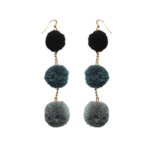 Three Shades of Grey Pom Pom Earrings