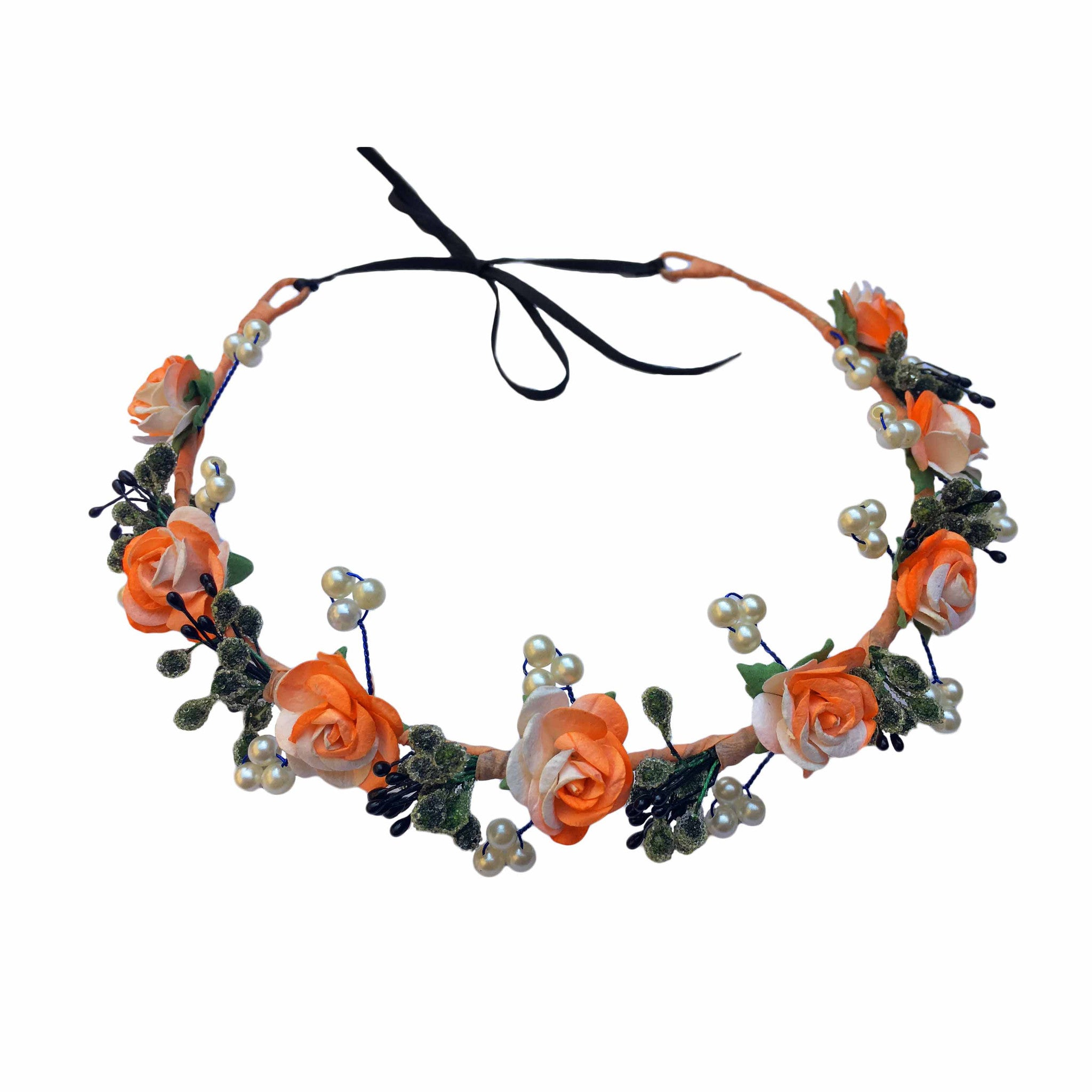 Tangy Orange Floral Hair Wreath