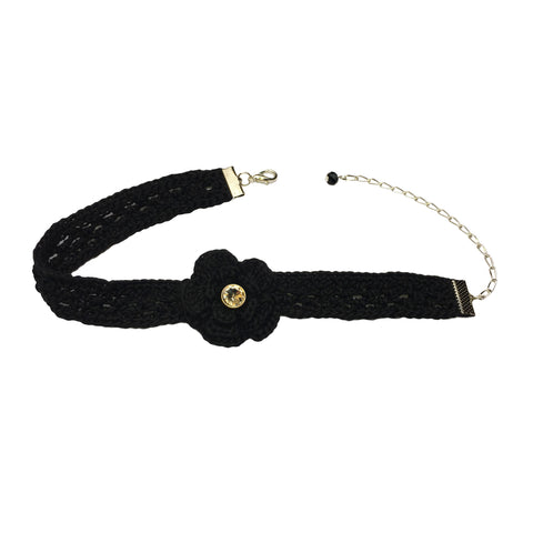 Flower Crochet Black Choker Necklace - Crochita - 1