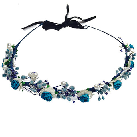 Blueberry Floral Hair Wreath - Crochita - 1