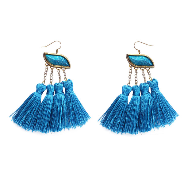 Carolina Blue Tassel Earring