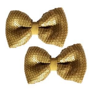 Gold Touch Bow Hair Clips - Crochita