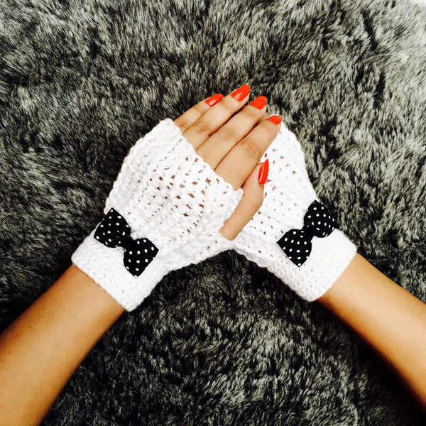 Snow White Crochet Handmade Finger-less Gloves - Crochita - 1