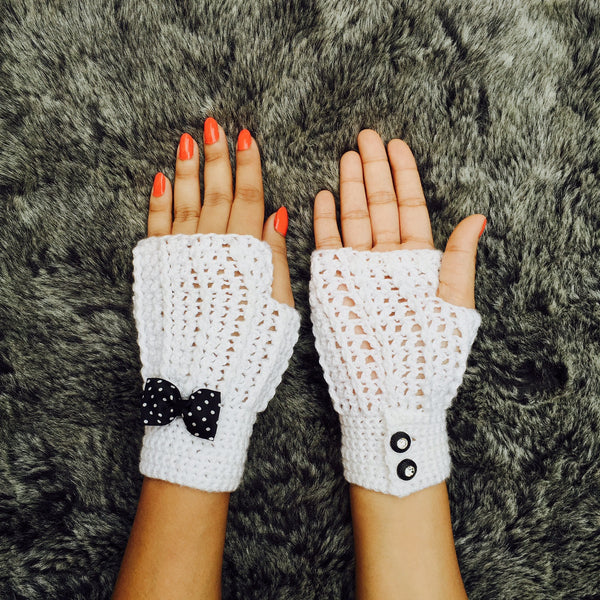 Snow White Crochet Handmade Finger-less Gloves - Crochita - 2