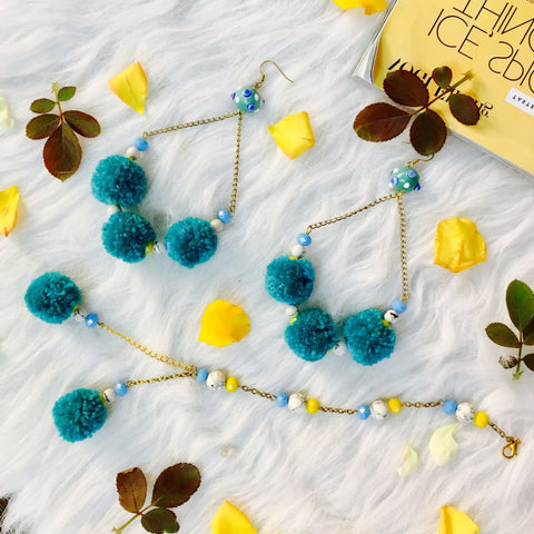 Aqua Pom Pom Earrings and Bracelet Combo