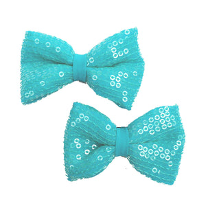 Icy Blue Bow Hair Clips - Crochita