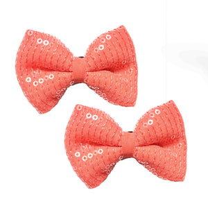 Peachy Treat Bow Hair Clips - Crochita