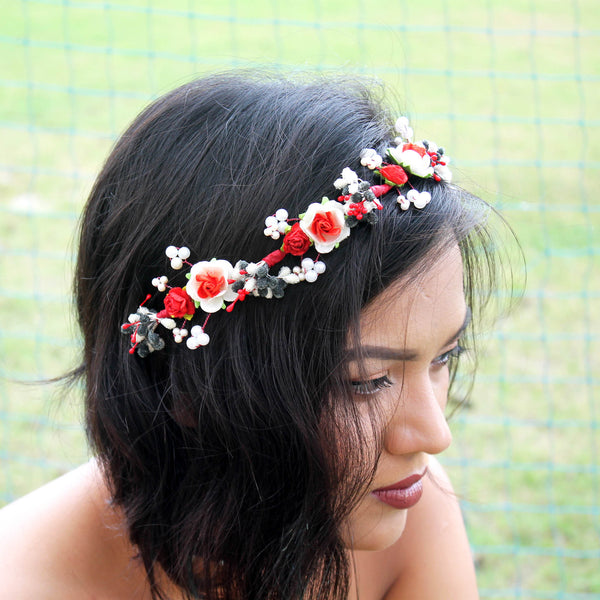 Ruby Red Floral Hair Wreath