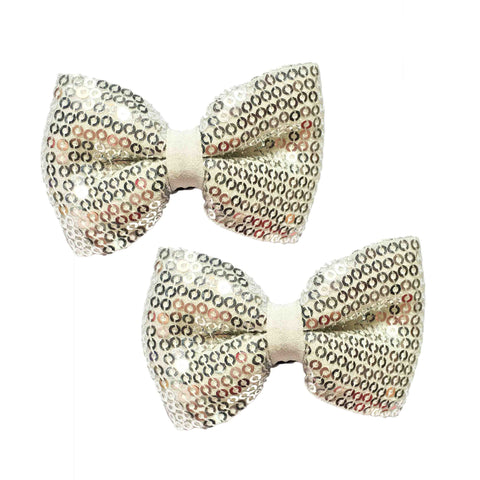 Silver linning Bow Hair Clips - Crochita