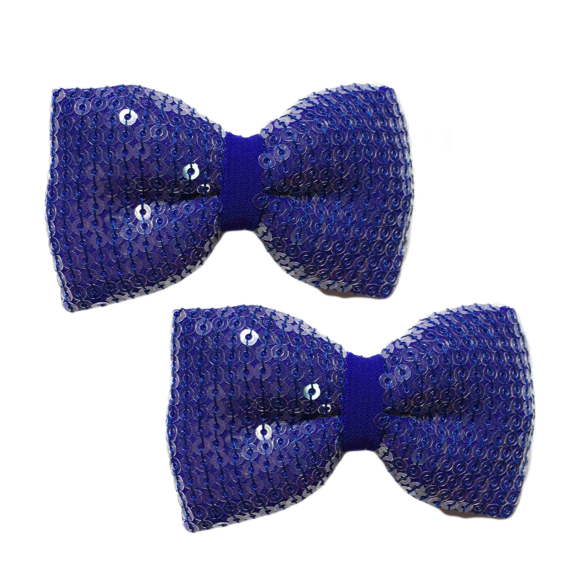 True Blue Bow Hair Clips - Crochita