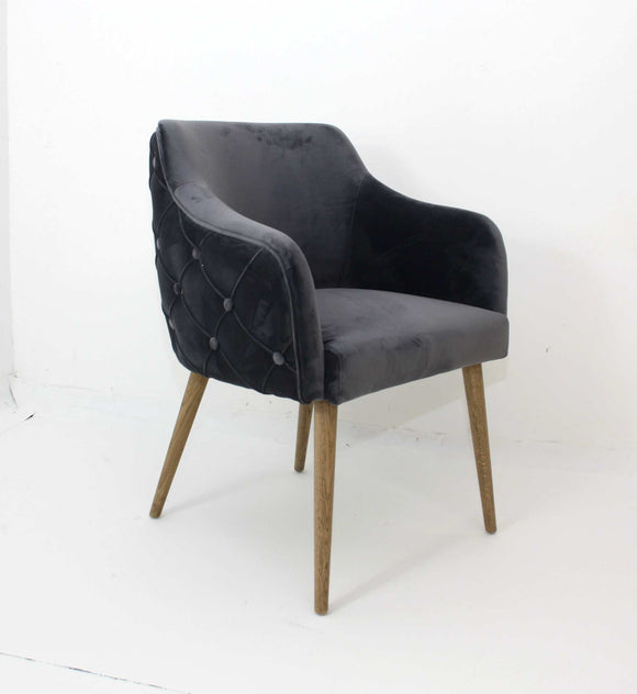 Charlene Grey Velvet Chair