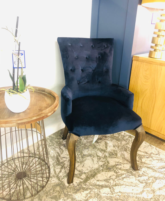 Nicky Navy Velvet Chair