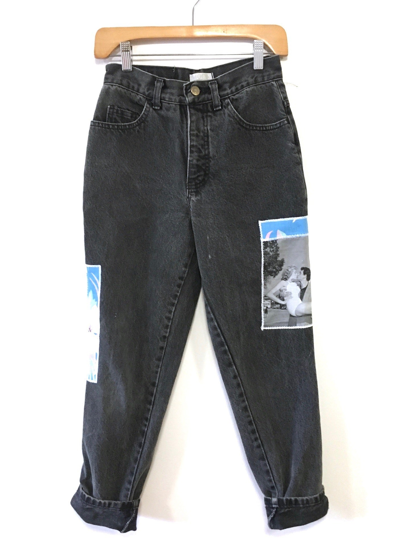 vintage high waisted mom jeans. black vintage denim. Patchwork pants by drift collective.