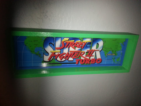 Street Fighter II Turbo Framed Arcade Marquee (vintage)