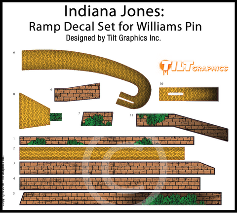 Indiana Jones Ramp Decal Set for Williams Pinball
