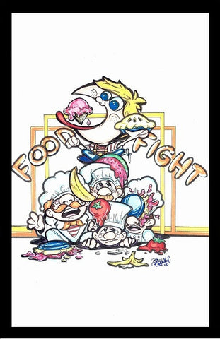 FOOD FIGHT Framed Gameroom Art