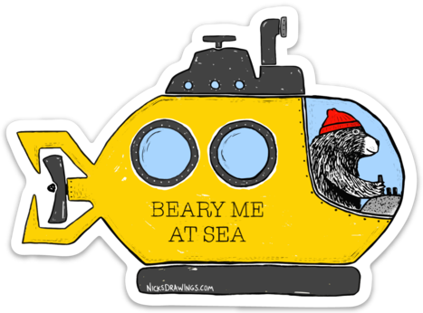 Beary Me at Sea Vinyl Sticker