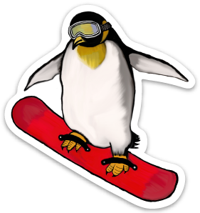 Penguin Powder Day Vinyl Sticker