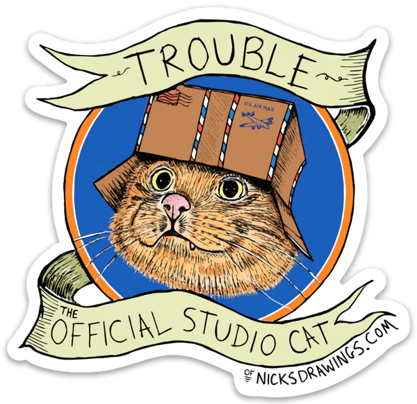 Trouble the Studio Cat - Die Cut Sticker