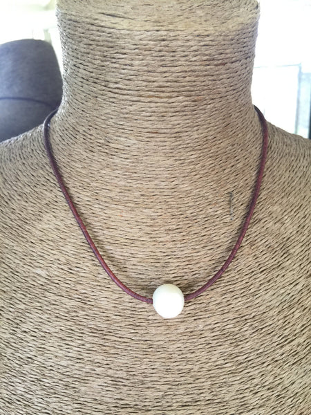 HUGE Single Baroque Pearl on Leather - HALF OFF THROUGH FRIDAY!