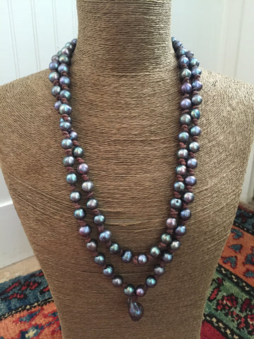 Long Peacock Pearl and Leather Mala Necklace