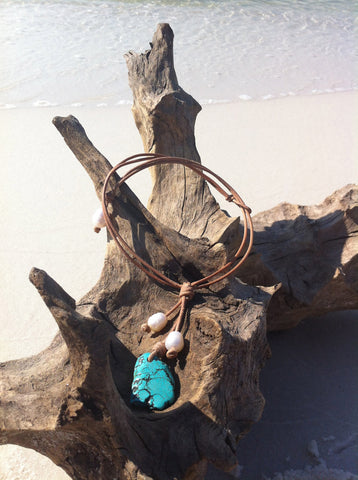 Turquoise, Pearls and Leather - Natural Leather, Turquoise and Freshwater Pearl Necklace, Leather and Pearls