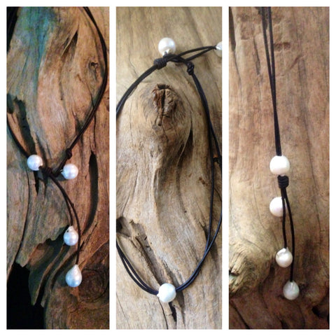 Freshwater Pearl and Leather Versatile Necklace - Wears 3-4 Ways