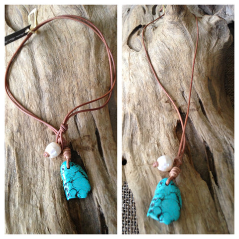Turquoise Howlite Slab with Single Freshwater Pearl Necklace